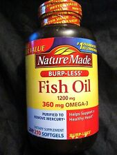 NATURE MADE BURP-LES 1200mg FISH OIL with 360mg OMEGA-3 210 SOFTGELS OCT/2018