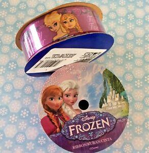 "Disney Frozen Craft Ribbon Anna Elsa Offray Purple Satin 7/8"" W 3 yds Hair Bows"