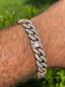 Solid 925 Silver & Rose Gold Men Cuban Iced Gucci Link Bracelet Baguette Diamond