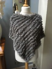 Real Rabbit Fur Grey Poncho One Size