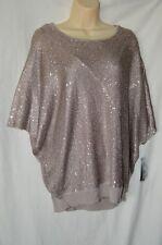 Alfani Womens Large Short Sleeve Loose Fit Shirt 2 Piece Tank NEW Sequined Shiny