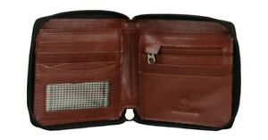 Mens Wallet Real Leather Zip-Around New With Coin Pocket Genuine Black Brown