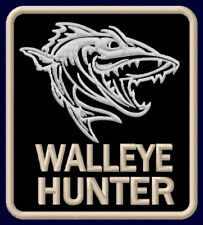 """WALLEYE HUNTER EMBROIDERED PATCH ~3-1/4"""" x 2-7/8"""" FISH OUTDOOR ROD SPORT FISHING"""