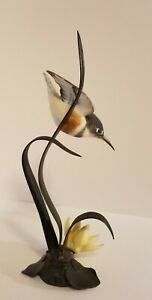 Royal Worcester England Figurine KINGFISHER BIRD FLOWER ON BRONZE Limited Ed.