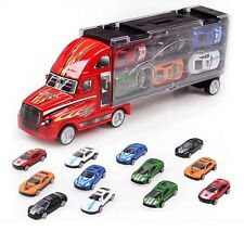 Children Birthday gift Portable Container Truck Toy Cars 12 Alloy Car Model