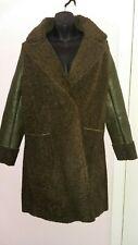 Ivivi Ladies Size Large Winter Coat Faux Leather & Cotton Dark Green