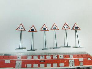 AY611-0, 5 #6x ETS Gauge 0 976 (?) Blech-Warnschild/Traffic Signs, Mint