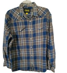 Cabela's Mens Sz 2XL Blue And Gray Cotton Snap Button Up Shirt