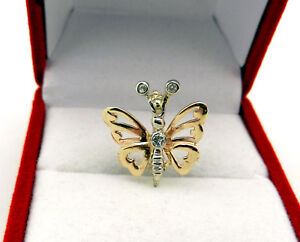 Vintage 10k Yellow Gold BUTTERFLY Pin Slide Pendant Diamond Accent Brooch