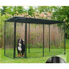 KennelMaster 10 ft. x 5 ft. x 6 ft. Black Powder-Coated Chain Link Boxed Kennel
