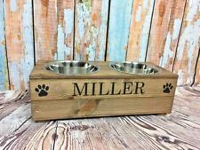 MEDIUM WOOD DOG 2 BOWL FEEDING STATION PERSONALISED RAISED FEEDERS WATER BOWL