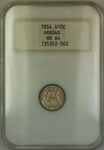 1854 Arrows Seated Silver Half Dime 5c Coin Old NGC Raised Logo MS-64 Toned