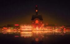 Stampa incorniciata-Notte Luci di una città asiatica che riflette sul fiume giallo