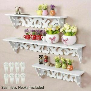 Set of 3 White Floating Wall Shelves Display Storage Shelf Wall Wooden Rack Unit
