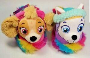 NEW Nickelodeon Paw Patrol Toddler Girls Slippers Rainbow, 3D Skye & Everest