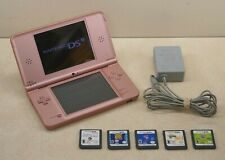 Tested Nintendo DSi XL Metallic Rose Pink System with 5 Games OEM Charger Stylus