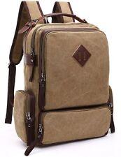 Aidonger Unisex Vintage Canvas and Leather School bag Backpack Khaki