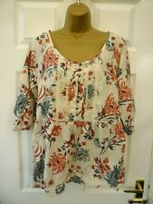 CHEROKEE Ladies Size 12 White Blue Red Floral Lace Boho Cotton Smock Blouse Top