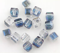 50Pcs Cube Crystal Glass Loose Beads Spacer Cut Faceted DIY Jewelry Making 5mm