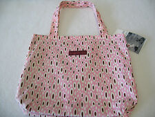 CUTE Bungalow 360 Mod Pink and Brown Small Reversible Tote Bag NEW! 12.5 x 11