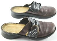 Naot Mule Clogs Womens Size 39 Bronze Gray Leather Slip On Low Wedge Shoes