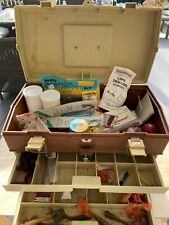 Vintage Plano Model 757 Plastic Tackle Bait Box Fishing Gear Full Of Tackle