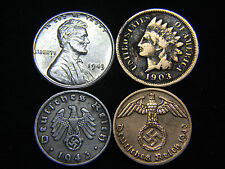 WWII Coin Deutsch Reich Indian Head & Steel Cent Higher Grade US German Lot