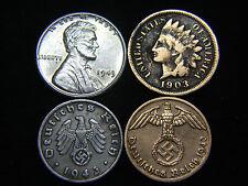 Nazi Coin 3rd Reich Indian Head & Steel Cent Higher Grade US German Lot