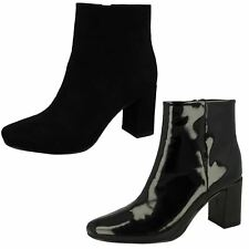 """Spot On F5R0596 Ladies Black Patent Zip Up 2.5"""" Block Heeled Ankle Boots"""