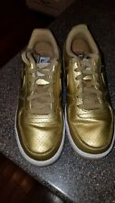 Nike Air Force 1 Low Lv8 Gs Size 6.5Y Metallic Gold White 820438-700