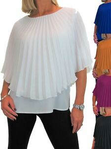 Ladies 2 in 1 Style Evening Pleated Chiffon Cape Top Elegant Look 10-22
