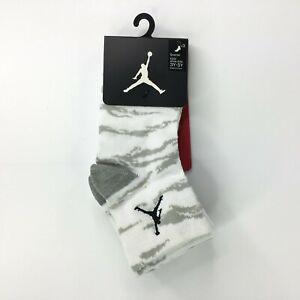 Nike Air Jordan Kids 3pk Quarter Socks Shoe Size 3Y-5Y Black/Gray/White NWT