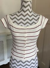 River Island Red and Ivory Striped Bardot Top, UK Size 10 12 New