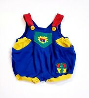 Vintage Baby Safari Applique Lion Elephant Overalls Blue Yellow Red 3-6 Months