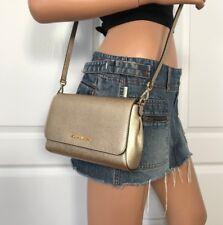 NWT Michael Kors Gold Medium Pouchtte Leather Crossbody Shoulder Bag