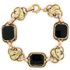 """Retro 1940's 14K Green Rose Gold 7"""" Black Onyx & Open Work Leaf Link Bracelet"""