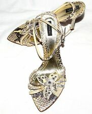 Oliver Beige Brown Snake Skin Strappy High Heel Shoes Sz US 7M Eur 37 Italy NWOB