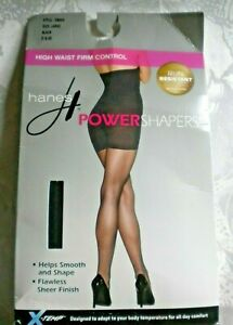 HANES POWER SHAPERS Black Pantyhose Size Large High Waist 1 Pair 1121