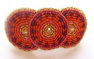 Spirit of Nature Hair Clip Seed Beads- 3 circles- orange, gold, pink and purple