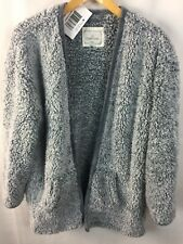 Cuddl Duds Robe Short Size S / M Wrap Open Front Nubby Plush Gray Pockets E11