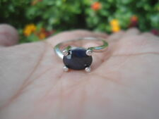 Natural Intense Blue SAPPHIRE & CZ Birthstone 925 STERLING SILVER RING S7.75
