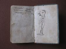 original 1834 self-portrait drawing caricature in old school book - folk-art