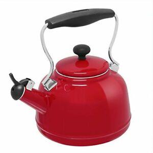 *1-Pack* Chantal Vintage Enamel On Steel Teakettle Chili Red 1.7 Qt 37-VINTRE