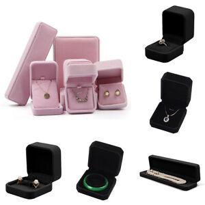 AU Black Velvet Flock Jewellery Ring Watch Necklace Bracelets Pendant Gift Box