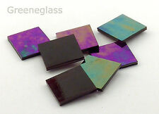 """500 Dark Purple Iridized 1/2"""" Square Hand Cut Stained Glass Mosaic Tiles"""
