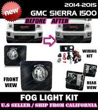 14 15 GMC SIERRA 1500 Fog Light Driving Lamp Kit w/switch wiring (CLEAR)