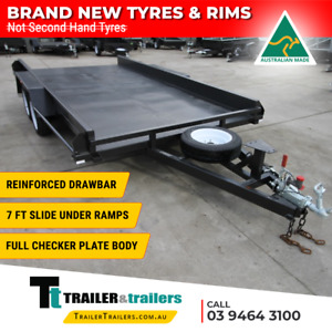 """14x6'6 TANDEM AXLE CAR CARRIER BOX TRAILER   10"""" SIDES   NEW WHEELS & NEW TYRES"""