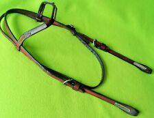 FANCY Vintage Engraved Rope Edge Silver Western Horse Show HEADSTALL Bridle~NR
