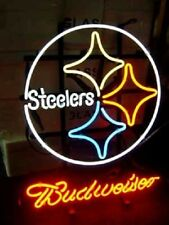 "New Pittsburgh Steelers Budweiser Beer Bar Neon Sign 20""x16"""