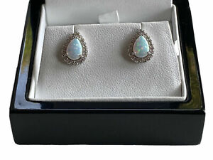 White gold finish Opal turquoise and created diamond Pear Cut stud earrings